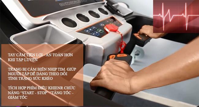 Cảm biến nhịp tim trên máy chạy bộ điện Pro Fitness PF-114