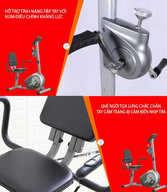 xe đạp phục hồi chức năng có ghế tựa lưng