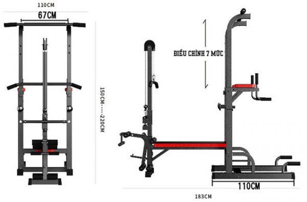 Kích thước lắp đặt ghế tạ TSQ 104