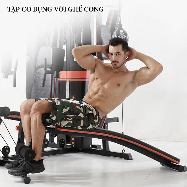 Tập cơ bụng với giàn tạ đa năng BP-806