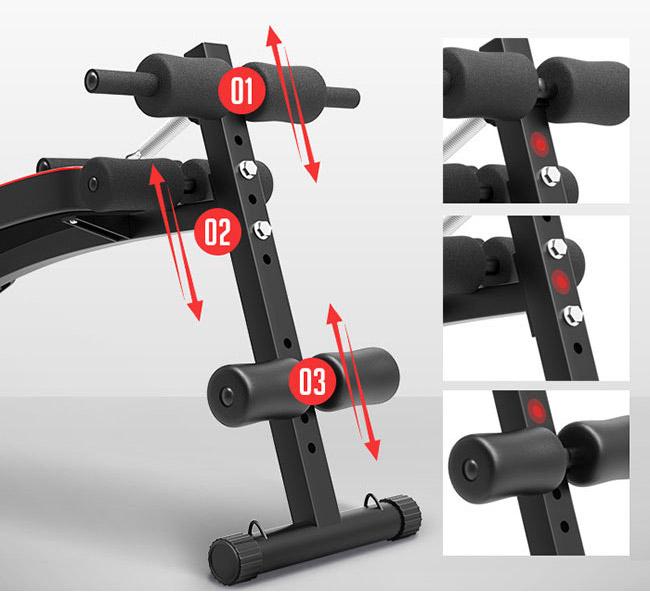 Các mức điều chỉnh độ dốc của ghế tập cơ bụng AD-178