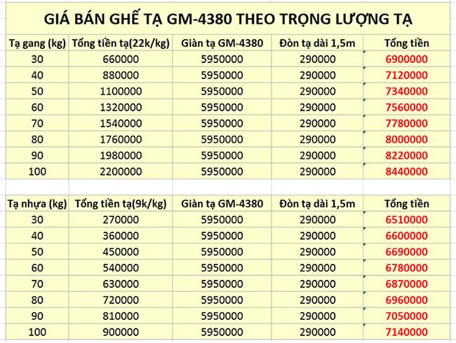 Giá bán ghế tập tạ đa năng GM-4380