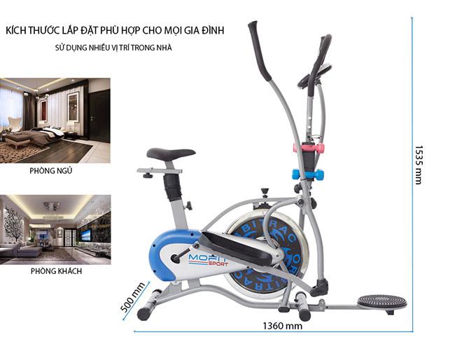 Kích thước lắp đặt xe đạp tập thể dục MO-2085