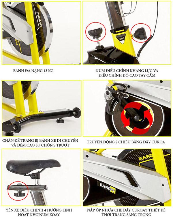 Chi tiết lắp đặt xe đạp tập thể dục TK-007